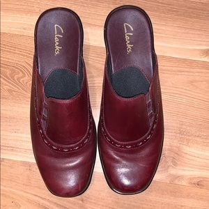 Clarks burgandy leather mules size 9